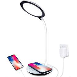 Orren Ellis LED Desk Lamp, Touch Control Desk Lamp w/ Wireless Charger, Gooseneck Table Lamp, Dimmable Office Lamp w/ Adapter, 3 Lighting Modes