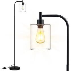 Longshore Tides Floor Lamp, Standing Lamp w/ Glass Lampshade, 6W LED Bulb Included, Modern Floor Lamp w/ Foot Switch, Industrial Floor Lamp | Wayfair