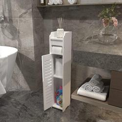 Red Barrel Studio® Small Bathroom Storage,Thin Toilet Vanity Cabinet,Bathroom Organizer Shelves w/ Door,Toilet Paper Holder Cabinet in White Wayfair