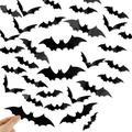 The Holiday Aisle® Halloween Decorations Bat Wall Decals Stickers Decor 120Pcs, Extra Large 3D Bats Window Decals, Bat Halloween Door Decor ()