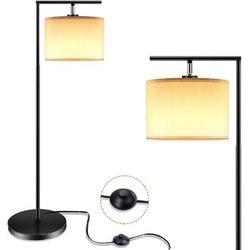Brayden Studio® Floor Lamp For Living Room,LED Floor Lamp w/ Linen Lamp Shade,Modern Standing Lamp w/ Foot Switch,Tall Lamps For Bedroom, Office