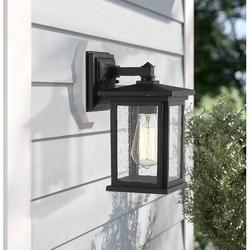 17 Stories Outdoor Wall Light Fixture, Exterior Wall Mount Lighting, Outdoor Wall Sconces, Porch Wall Lighting (Black, 1 Pack) Aluminum/Glass/Metal