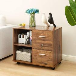 Millwood Pines 2 Drawers File Cabinet Wooden Lateral File Cabinet w/ Open Storage Shelves Printer Stand Rolling File Cabinets w/ Lock For Letter Size Or A4 Hangi