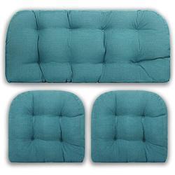 "Red Barrel Studio® 3 Piece Tufted Wicker Cushion Set- Outdoor/Indoor Loveseat Settee Cushion 44"" X 19"" & Two U-Shape Chair Cushions | Wayfair"
