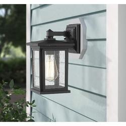 17 Stories Outdoor Wall Light Fixture, Exterior Wall Mount Lighting, Outdoor Wall Sconces, Porch Wall Lighting (Black, 2 Pack) Aluminum/Glass/Metal