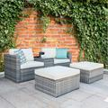 Latitude Run® 5 Piece Patio Furniture Set, PE Wicker Rattan Outdoor Chairs Set, 2 Cushioned Chairs, 1 Side Table w/ Tempered Glass Top For Garden