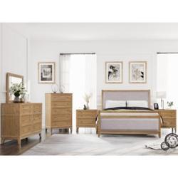 Red Barrel Studio® Hazel 6-Piece Upholstered & Wood King Bedroom Set ( King Bed+ Night Stand*2+ Dresser+Mirror + Chest ) Wood in Brown/Green Wayfair