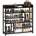 Rebrilliant Shoes Rack Shelf Organizer Entryway 5 Tier Bamboo For 24 Pair Boots Footwear Book Flowerpots w/ Storage Box in Black | Wayfair