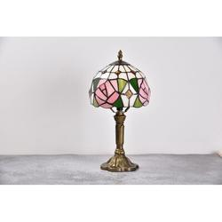 World Menagerie Chautauqua Table Lamp Rose Floral Stained Glass Lamp Antique Bronze Bedside Light Reading Lamp For Bedroom Living Room in Brown/Pink