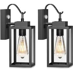 """17 Stories Domminick 7.87"""" H Hardwired/Plug-In Outdoor Bulkhead Light w/ Dusk to Dawn Glass/Metal in Black, Size 12.28 H x 6.37 W x 4.52 D in"""
