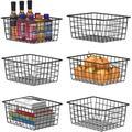 Rebrilliant Wire Storage Basket, 6 Pack Metal Baskets For Storage Organizer Bin For Pantry, Shelf, Freezer, Kitchen, Cabinet, Bathroom, Small