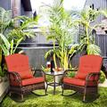 Bay Isle Home™ 3 Pieces Patio Conversation Set W/2 Rattan Wicker Rocking Chairs & Glass Table,For Garden Backyard Lown Porch () Wicker/Rattan in Red