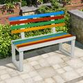 Latitude Run® Garden Bench Outdoor Bench w/ Plastic Backrest For Patio Metal Bench Park Bench Or Yard Porch Clearance Work Entryway Metal in White