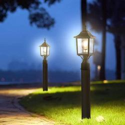 Alcott Hill® Post Light, Lamp Post Light Fixture 6-Inch w/ 3-Inch Pier Mount Base, Waterproof Post Lantern w/ Water Ripple Glass, Matte Black Finish
