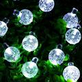 Arlmont & Co. Solar Powered String Lights Outdoor 20 LED 16.5 Feet Crystal Globe Waterproof Patio Lights For Garden Yard Wedding Party Decor in Black