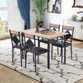 Williston Forge Engelhard Dining Table Set Wood Kitchen Table & 4 Leather Dining Chair 5 Piece Kitchen Table Set w/ Metal Frame in Black/Brown/Gray