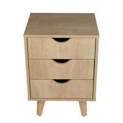 Corrigan Studio® Mid Century Modern Nightstand – Three Drawer Bedside Table Night Stand – White, Size 22.0 H x 16.0 W x 14.0 D in   Wayfair