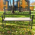 Red Barrel Studio® Patio Garden Bench w/ Solid Wood Seat Metal in Black/Green, Size 29.0 H x 49.5 W x 20.5 D in | Wayfair