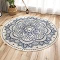 Dakota Fields Round Carpet Cotton Thread Printing Mat Area Rug 90*90CM in Black/Blue, Size 35.43 H x 35.43 W x 0.39 D in   Wayfair