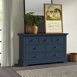 "Greyleigh™ Alicea 7 Drawer 58"" W Double Dresser Wood in Blue, Size 34.75 H x 58.0 W x 18.0 D in   Wayfair 7B38AD06BB0D42CE97CD32D5FF8CD17A"