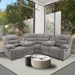 Red Barrel Studio® Modern Living Room Sofa Set Manual Recliner Sectional Sofa w/ 4 Cup Holder & 2 Recliner,For Living Room in Gray   Wayfair