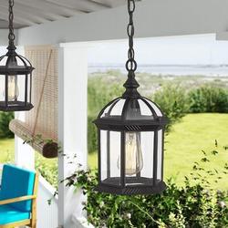 Winston Porter Outdoor Pendant Lights, Exterior Hanging Lantern, Outdoor Hanging Lighting Fixture in Black, Size 11.0 H x 7.67 W x 7.67 D in Wayfair
