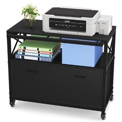 Inbox Zero Lateral File Cabinet, Mobile Filing Cabinet w/ Large Drawer, Rolling Office Cabinet w/ File Holder in Black   Wayfair