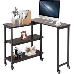 Latitude Run® Rotating Side Table, Mobile Sofa Table 360 Rotating Table Couch Desk Snack Side Table End Table w/ Storage Shelves | Wayfair
