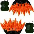 The Holiday Aisle® Halloween String Lights Outdoor 60 LED 2Pack Indoor Christmas Lights String Battery Operated,8 Lighting Modes in Orange | Wayfair