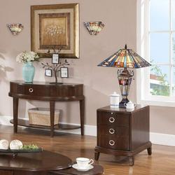 """Fleur De Lis Living Tiffany Table Lamp Night Light 16"""" Wide Handmade Stained Glass Lamp Shade 3 Light Blue Mission Style Vintage Table Lamp For Home"""