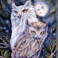 Loon Peak® Night Watch Owls Wood Block Wall Art By Jody Bergsma Wood in Brown, Size 18.0 H x 12.0 W x 1.0 D in   Wayfair