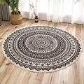 Dakota Fields Round Carpet Cotton Thread Printing Mat Area Rug 90*90CM in Black/White, Size 35.43 H x 35.43 W x 0.39 D in   Wayfair