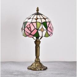 Alcott Hill® Tiffany Table Lamp Rose Lampshade Tiffany Lamps Floral Stained Glass Lamp Antique Reproduction Lamp Bedside Light For Bedroom Living Room
