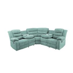 Red Barrel Studio® Modern Living Room Sofa Set Manual Recliner Sectional Sofa w/ 4 Cup Holder & 2 Recliner in Blue, Size 39.8 H x 79.5 W x 79.5 D in