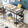 Mason & Marbles Full Size Loft Bed w/ Full Length Desk Desk & Shelves Metal Loft Bed w/ Ladder & Guard Rail Wood/Metal in Brown | Wayfair