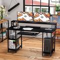 "Inbox Zero Computer Desk 47"", Home Office PC Desk w/ Keyboard Tray Monitor Stand Storage Shelf CPU Stand in Black, Size 36.7 H x 23.62 D in | Wayfair"