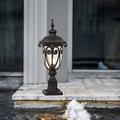 """WUEHSK Outdoor Post Light Fixture w/ Pier Mount Vintage Post Lamp For Yard 60W E26 Post Lantern In Bronze Finish w/ Seeded Glass Shade, 24"""" High"""
