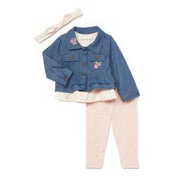 Nannette Baby Girls' Denim Jackets BLUE - Pink & Blue Denim Jacket Set - Infant