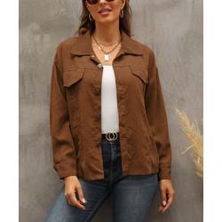 Camisa Women's Non-Denim Casual Jackets Brown - Brown Flap-Pocket Button-Up Corduroy Jacket - Women & Plus