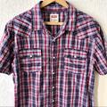 Levi's Shirts   Levis Short Sleeve Plaid Western Snap Shirt Sz L   Color: Blue/Red   Size: L