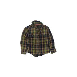 Nike Long Sleeve Button Down Shirt: Yellow Plaid Tops - Size 2Toddler