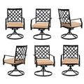 MEOOEM Outdoor Patio Dining Chairs Set Of 6 Swivel Porch Chairs Metal Arm Chair For Garden Bistro Metal in Black, Size 35.4 H x 22.0 W x 22.0 D in