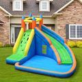 Metaoutdoors 13.12' x 9.84' Bounce House w/ Water Slide & Air Blower in Blue/Brown/Gray | Wayfair MK-LBJ020177-01