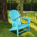 Highland Dunes Adirondack Chair Outdoor Lounge Chair Plastic/Resin in Green/Blue, Size 33.5 D in   Wayfair 4FBBF68FE227450C849B3C48EED2F143