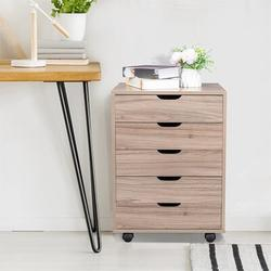 Inbox Zero File Cabinets For Home Office, Drawer File Dresser, Five Drawers MDF w/ PVC Wooden File Cabinet Gary Wood in Gray | Wayfair