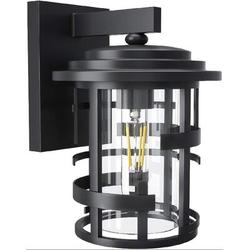 Breakwater Bay Outdoor Wall Lantern, Exterior Wall Light Wall Mounted Sconce, Waterproof Outdoor Wall Lighting Fixture w/ Clear Glass Shade in Black