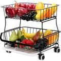 Red Barrel Studio® 2-Tier Fruit Basket w/ Drainboard Metal Fruit Bowl Bread Baskets Detachable Fruit Holder For Vegetables Bread Snacks Spice (2-Tier)