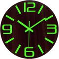 Latitude Run® Luminous Wall Clocks Non-Ticking Silent Wooden Clock w/ Night Light - Large Decorative Wall Clock For Kitchen Office Bedroom in Brown