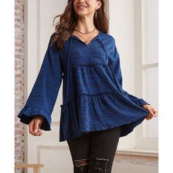 Suzanne Betro Weekend Women's Tunics 101DK - Dark Cobalt Blue & Black Marl Tiered Notch Neck Tunic - Women & Plus