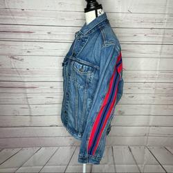 Levi's Jackets & Coats | Levis Jean Denim Jacket Coat Adult M Red Stripe | Color: Blue/Red | Size: M